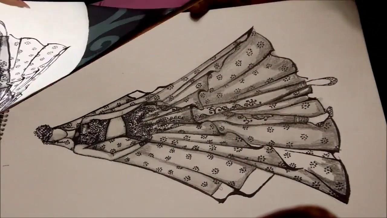 Indian Bridal Beautiful Lehenga Pencil Sketch Youtube