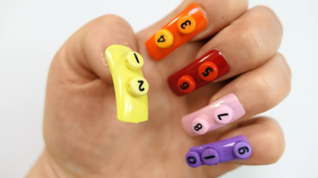 Learn Colors Nail Art Number 5 Nail Polish Learn to Count Teach ...