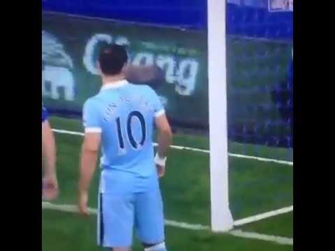 Everton-Man City aguero help a fan  ايفرتون سيرجيو اجويرو