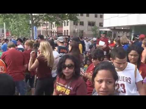 NBA Champs Cavs greeted by sea of people Cleveland OH,2016