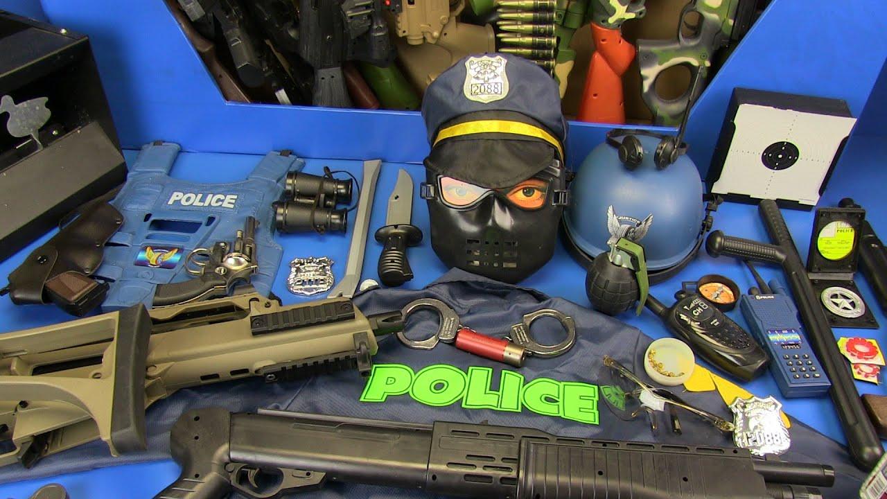 Guns Toys & Equipment ! Box Of Toys ! Realistic Toys Police Gun