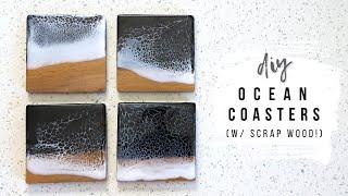 DIY Scrap Wood Coasters With Epoxy Resin Ocean Waves