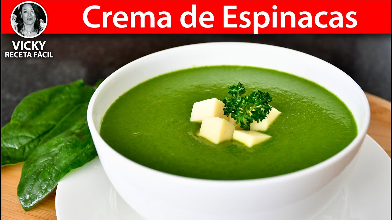 Sopa o Crema de Espinacas   #VickyRecetaFacil
