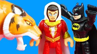 Imaginext Batman Batwing + Shazam & Tiger + Superheroes Battle Giant Transforming Bane And Joker