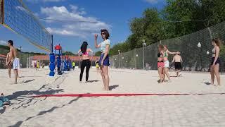 Russian Girls on bikini doing Volley Beach in Moscow