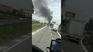Car burning in Spilamberto Italy