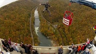 Human Catapult Launches People Off Bridge into Deep Gorge