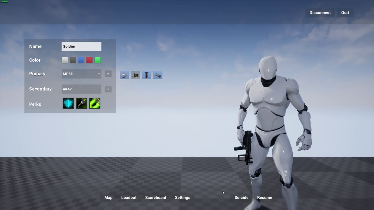 Unreal Engine - Weapon Customization Menu