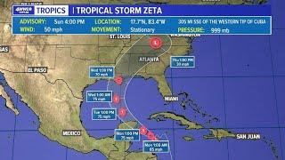 Sunday 4 pm Tropics update: Tropical Storm Zeta possible impacts