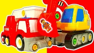 Build N Play Fire Engine Digger & Helicopter Toys Vs Free Apps & Games
