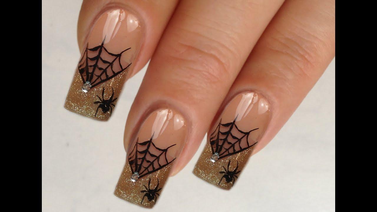 Nailart Design Tutorial Halloween Glamorous Spiderweb 34 Youtube