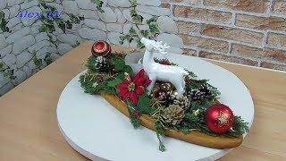 Adventskranz / Adventsgesteck  länglich auf Holzbrett selber machen .