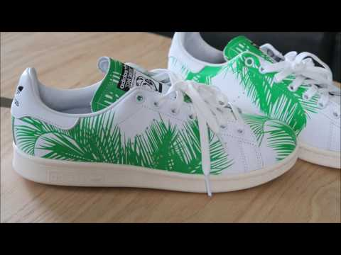 timeless design 4d53c 3525f Pharrell adidas Originals BBC Stan Smith Palm Tree Sneaker Detailed Look +  On Feet - YouTube