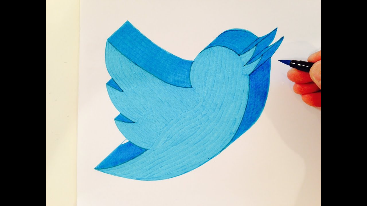 How To Draw The Twitter Logo In 3d Youtube