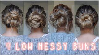 4 WAYS TO DΟ A LOW MESSY BUN! EASY LONG & MEDIUM HAIRSTYLES