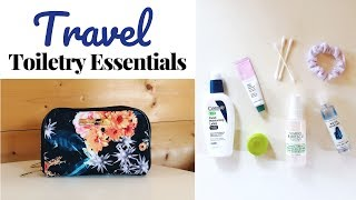 TRAVEL TOILETRIES | Travel Makeup & Toiletry Essentials | Kathryn Mary