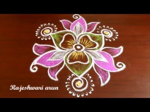 Simple Sankranthi muggulu with colors, dots, pongal kolam designs * new year rangoli 2018