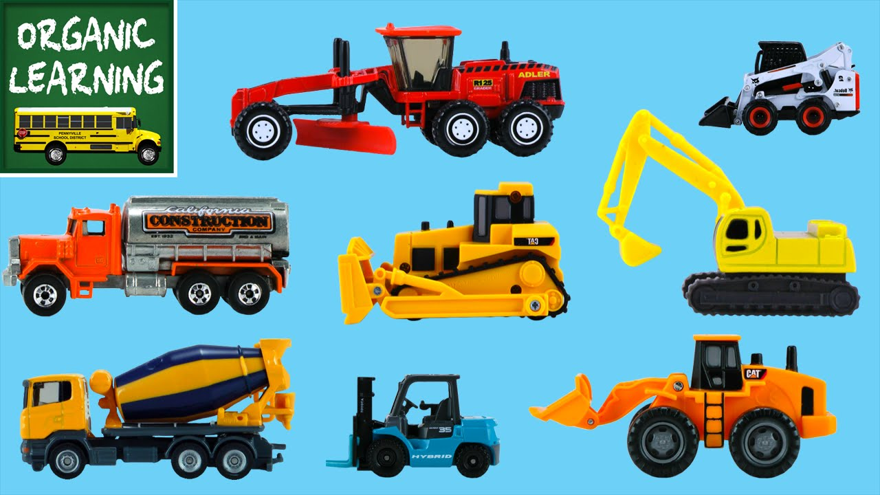 Learning Construction Vehicles Names & Sounds for Kids - Hot ...