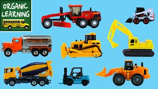 Learning Construction Vehicles Names & Sounds for Kids - Hot Wheels, Matchbox, Tomica トミカ, Siku