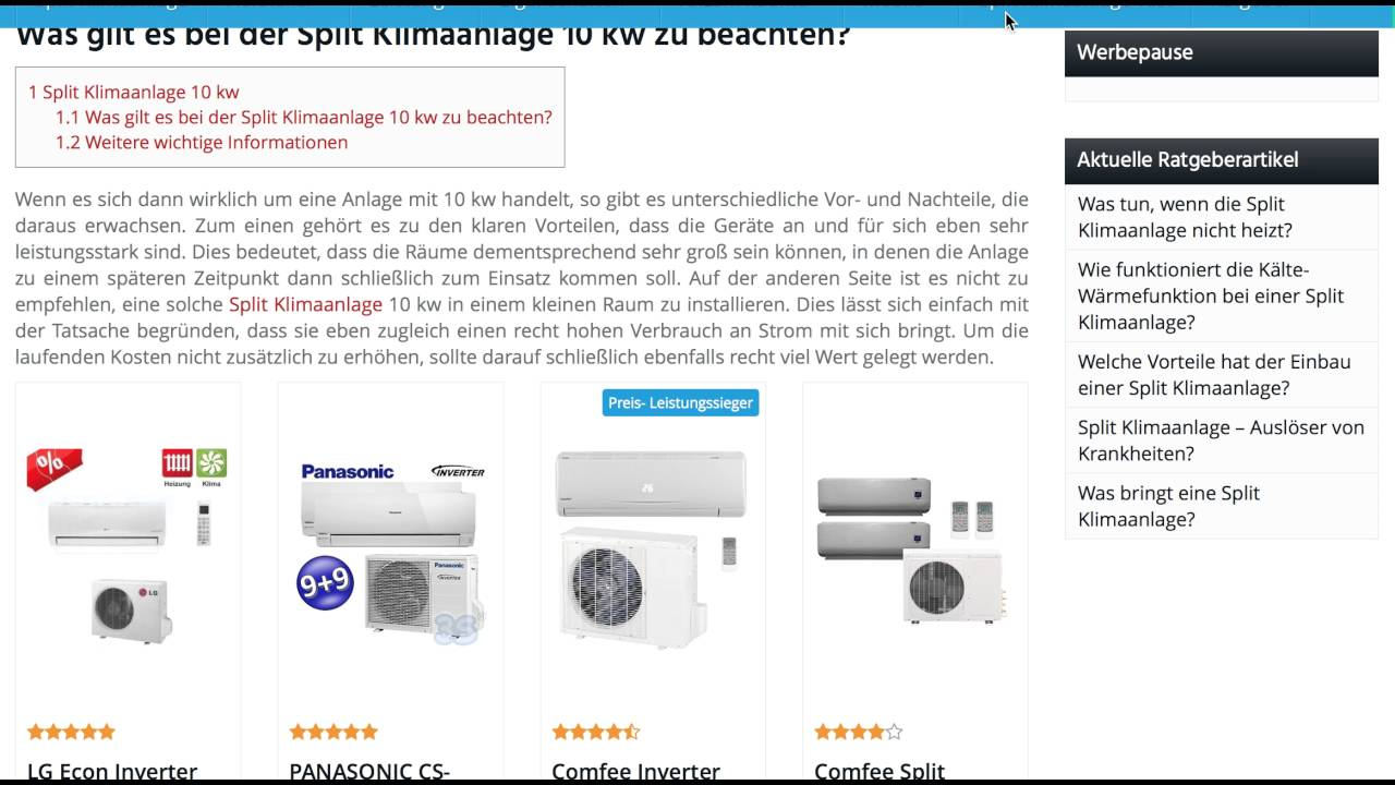 split klimaanlage 10 kw split klimaanlagen test youtube. Black Bedroom Furniture Sets. Home Design Ideas