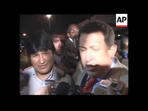 Chavez arrives for Cuban, Bolivian, Venezuelan mtg on alternative trade pacts
