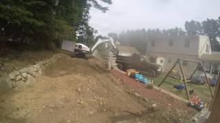 Dump truck hauling fill excavator e35i loading