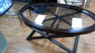 Contemporary Oval Wood & Glass Coffee Table