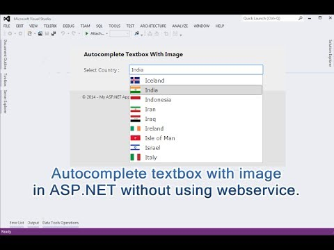 Autocomplete textbox with image in ASP.NET WITHOUT using Webservice and AJAX autocomplete extender.