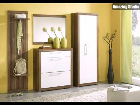 gelbe wandfarbe und sch ne flurm bel im flur youtube. Black Bedroom Furniture Sets. Home Design Ideas