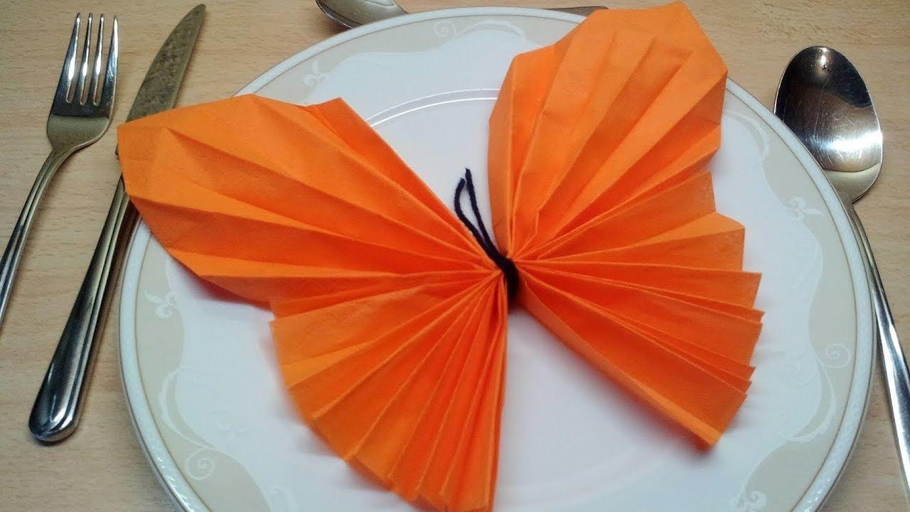 Favorit Servietten falten Schmetterling - Einfache DIY Tischdeko basteln OY14
