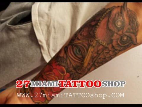 Owl Tattoo, Half Sleeve