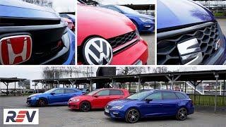 The REV Test: Hot hatches. Honda Civic Type R vs Seat Leon ST Cupra vs Volkswagen Golf GTI