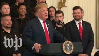 Watch: Trump speaks to veterans after Barr's news conference