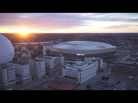 2560. Globen (Stockholm Globe Arena) Drone Stock Footage Video