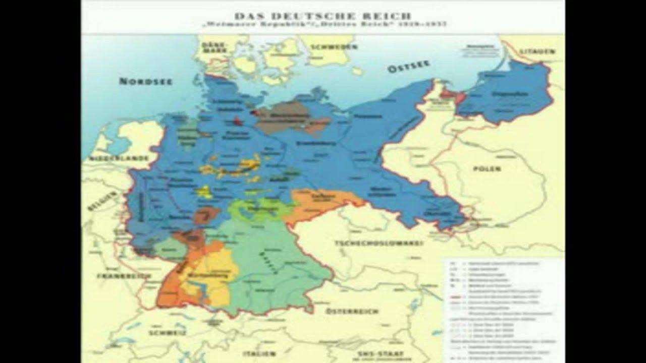 Deutsche Karte Vor Dem 1 Weltkrieg.Deutschland Besteht Weiterhin In Den Grenzen Von 1937