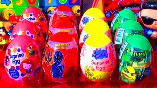 12 Surprise Eggs Peppa Pig SHREK Toys Power Rangers Samurai Hello Kitty Easter Egg Toy Surprises WOW