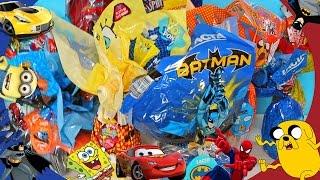 7 OVOS De PÁSCOA De MENINOS SURPRESA HotWheels Batman Homem Aranha Transformers Super Wings