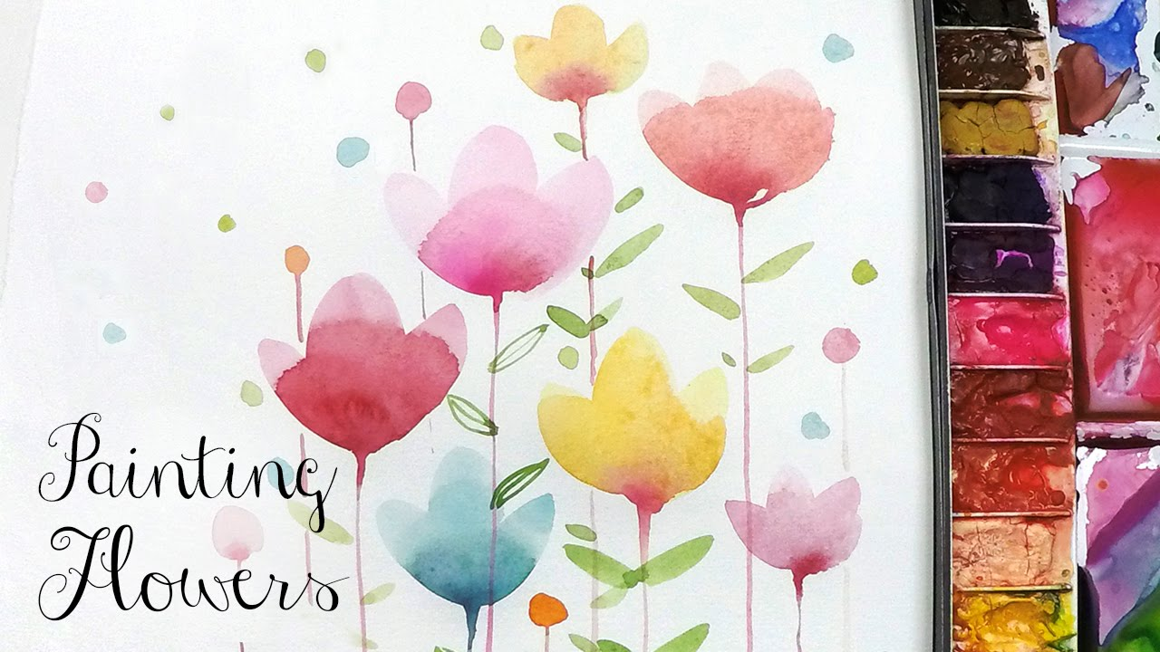 Lvl2 painting easy simple flowers watercolor painting for How to watercolor for beginners