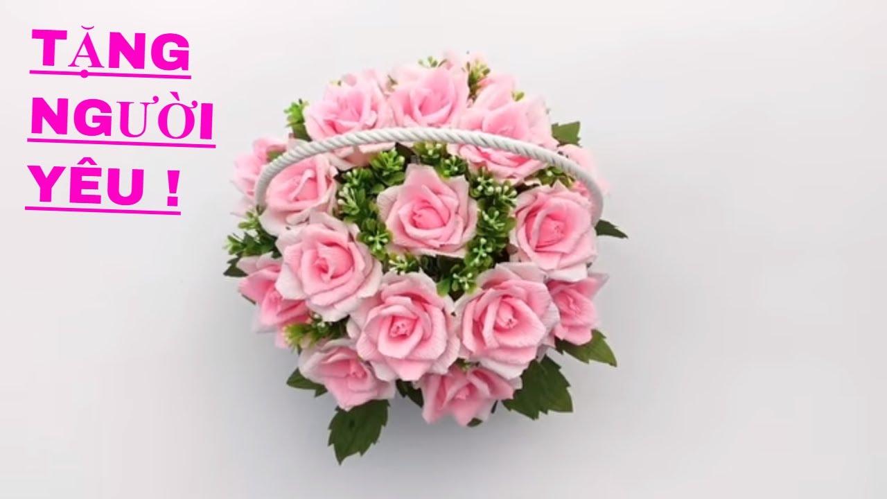 Hướng dẫn cách tự làm Giỏ Hoa Hồng bằng giấy nhún cực đẹp ❀ DiyBigBoom-VN