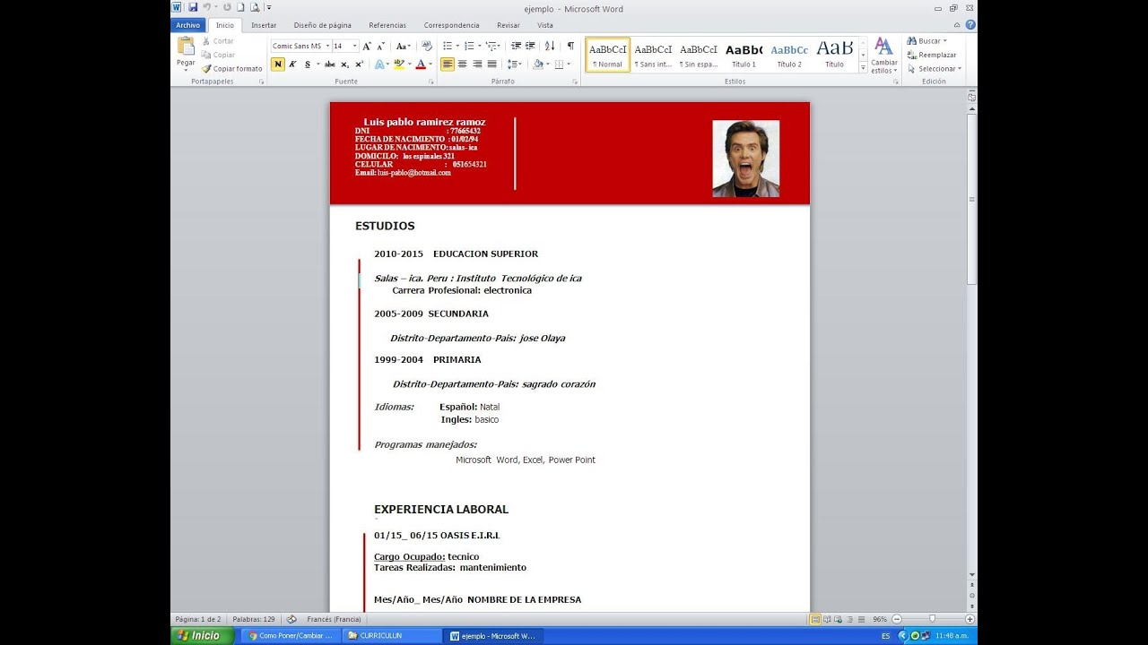 50 Modelo De Curriculum Vitae - Modelo De Curriculum Vitae