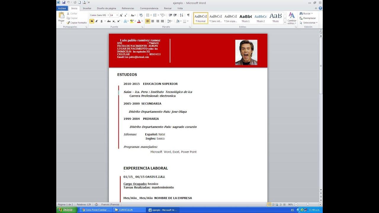 descargar formato de curriculum vitae en publisher