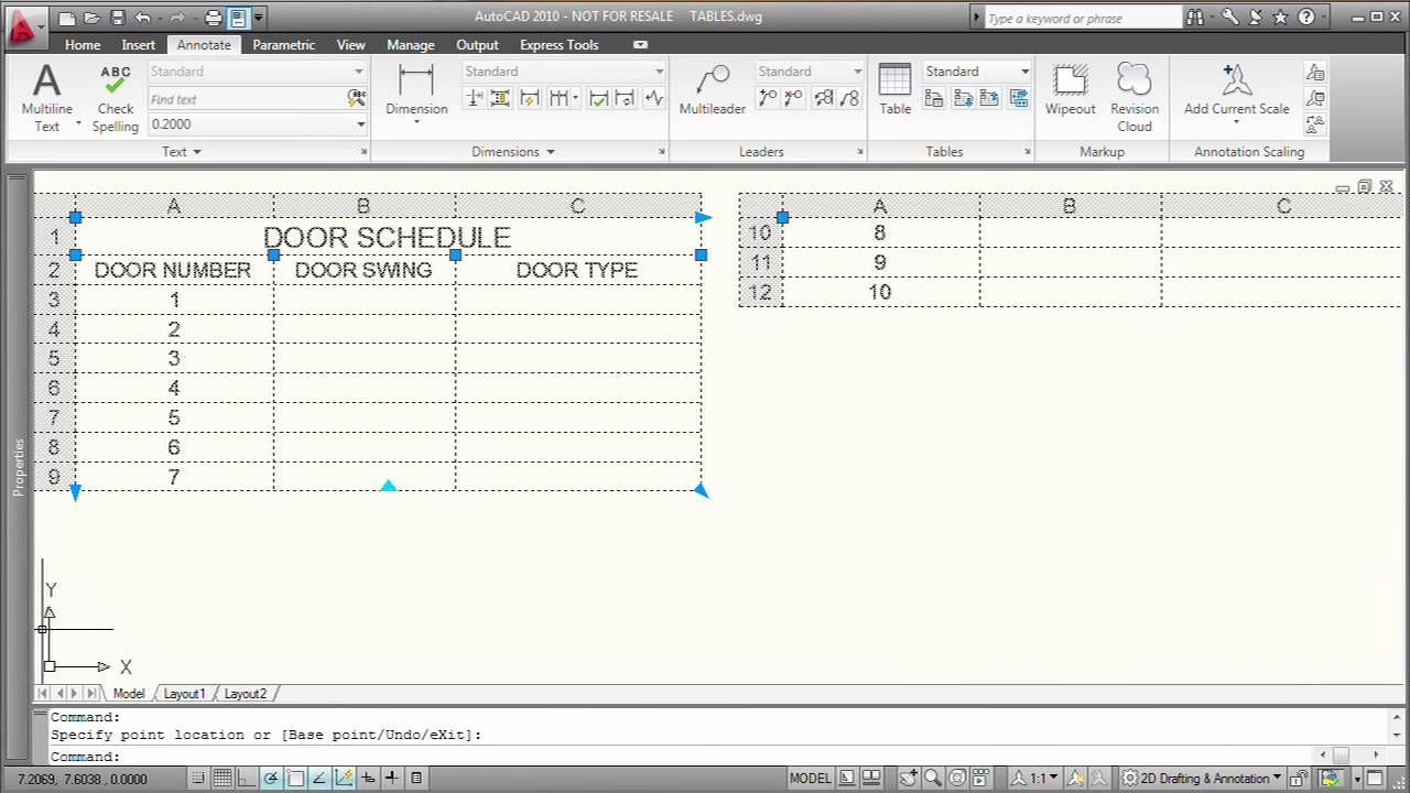 Modifying a Table in AutoCAD