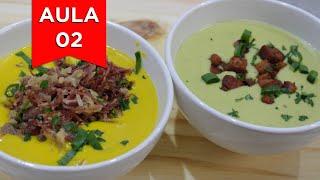 Sopa Cremosa de Abóbora com Carne Seca e Sopa de Ervilha com Bacon