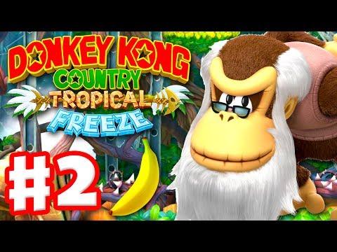 Donkey Kong Country: Tropical Freeze - Gameplay Walkthrough Part 2 - World 1: Cranky Kong 100%