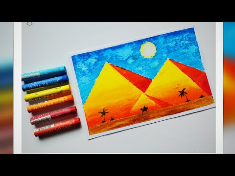 How to draw Landscape Scenery – Pyramids / Simple Oil Pastels for Beginners