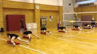 上尾メディックス女子バレーボールトレーニング風景.