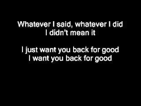 i just want you back for good lyrics