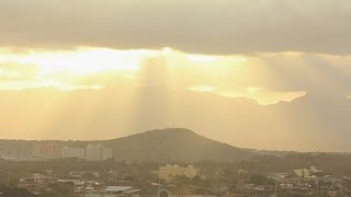 Sunset Rays Over Salt Lake and Waianae Mountain Range - Time Lapse Hawaii. Stock Footage