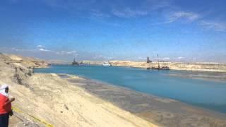 مشهد عام للحفر والتكريك بقناة السويس الجديدة يوم مؤتمر شرم الشيخ الاقتصادى