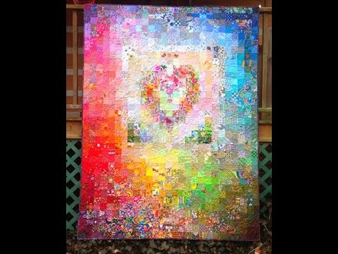 Postage Stamp Watercolor Heart Quilt